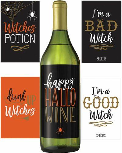 Halloween bottle labels